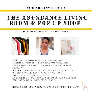 Life Coach Asha - Abundance Living Room Pop up Shop 2018