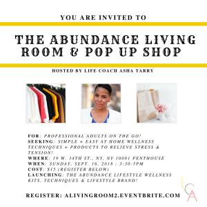 Life Coach Asha - Abundance Living Room Pop up Shop Sept. 16. 2018