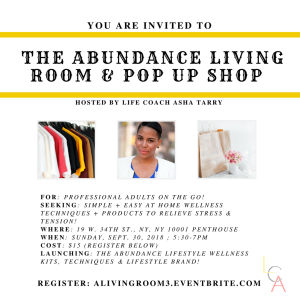Life Coach Asha - Abundance Living Room Pop up Shop Sept. 30. 2018
