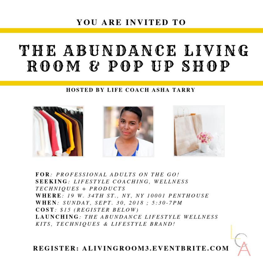 Life Coach Asha - Abundance Living Room Pop up Shop Sept. 30. 2018.png