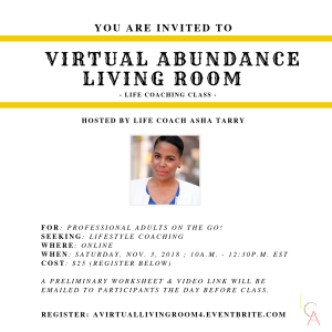 Life Coach Asha - Virtual Abundance Living Room Nov. 3. 2018