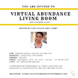 Life Coach Asha - Virtual Abundance Living Room Oct. 20. 2018